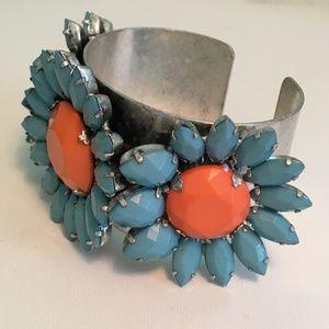 Antique Silver with Rhinestone Cuff-Style Bracelet